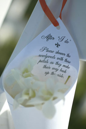 After 'I do' Please shower the newlyweds with these petals as they make their way back up the aisle